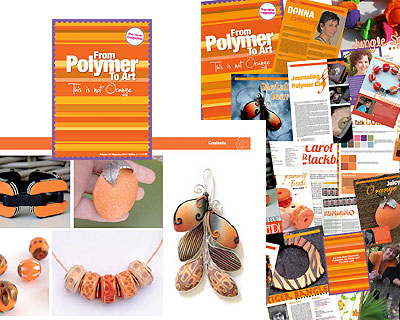 from polymer to art, orange, at EJR Beads