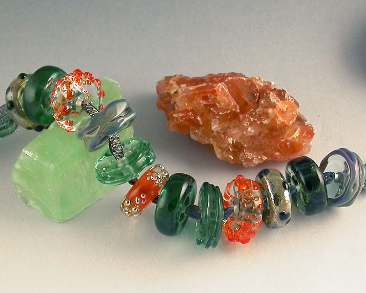 fruitdrop lampwork beads in green and orange