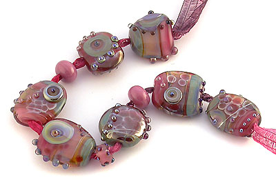 cranberry pink lampwork beads