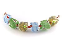 crazy cuboid lampwork beads by Emma Ralph