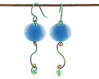 lampwork glass and niobium earrings