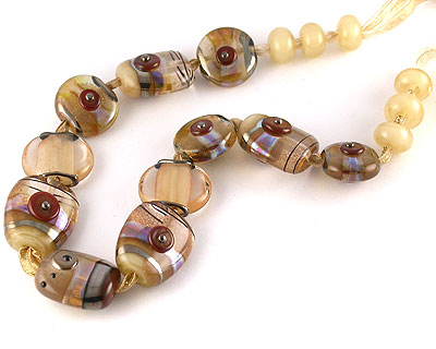 byzantine tabs lampwork beads by Emma Ralph